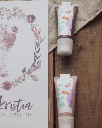 Fußabdruck, Fussabdruck, Poster Geburtsdaten Blumenkranz