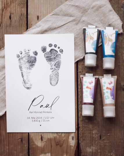 Fußabdruck Bio Baby Stempel Geschenk zur Geburt