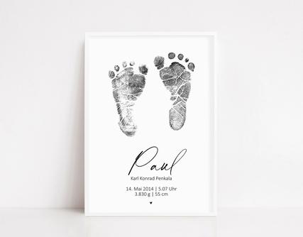 Fußabdruck, Fussabdruck, Poster Geburtsdaten