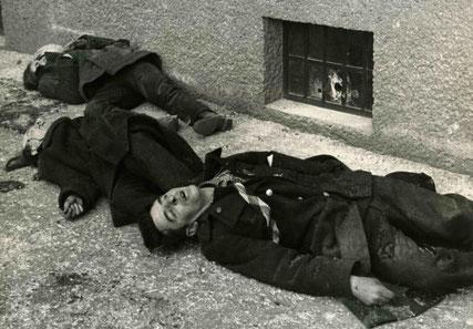 En af de hårdt sårede medlemmer af Schutzbund (skomageren Karl Schuhmacher) blev på båren ført til galgen, hvor han blev hængt, den 14. februar 1934, kl. 16:41