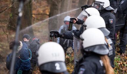 Politiindsats med peberspray mod økoaktivister, d. 27. november 2017 i Hambach skoven.