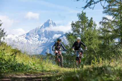 Zwei e-Mountainbiker in den Bergen fahren mit neuem Bosch Tour+ Modus