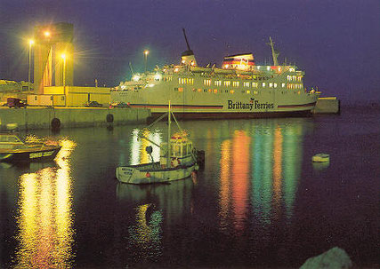 Benodet berthed in Roscoff at night.