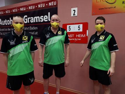 Dominik Tarmann, Tomas Janci und Martin Kinslechner in Baden. Powered by Raiffeisenbank.