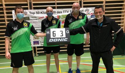Nach zwei Siegen lässt es sich auch hinter Masken leicht lachen. Die Sierndorfer TTVler vor dem Top 50-Klub 2020.
