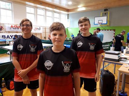 Niklas Binder, Jakob Wilder und Klaus Mörwald holten Platzierungen für den TTV Sierndorf in ihren neuen Dressen.