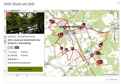 Routenführung SHS1 im TEUTO_Navigator © Stadt Schloß Holte-Stukenbrock