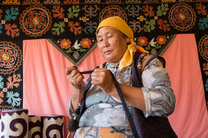 One lady was showing us her traditional Kyrgyz Felt Art