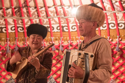 Two members of the traditional Kyrgyz band