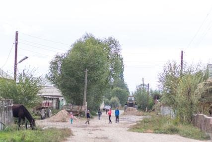 Street of the village Kara Kool in Kyrgyzstan