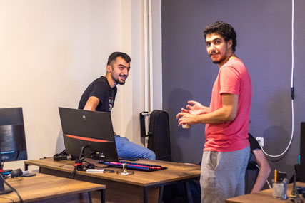 Baris on the left with one of his collegues Jamal