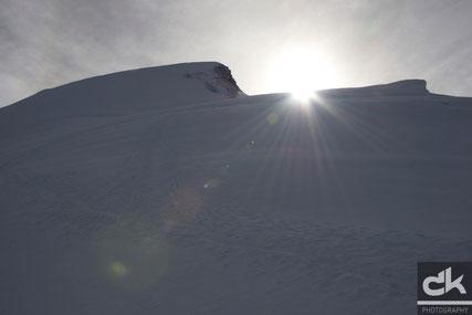 Blick vom Feejoch zum Gipfel