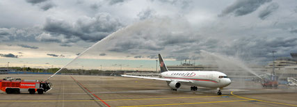 Source: CGN Airport; Wet welcome of Cargojet's 767F at Cologne-Bonn Airport