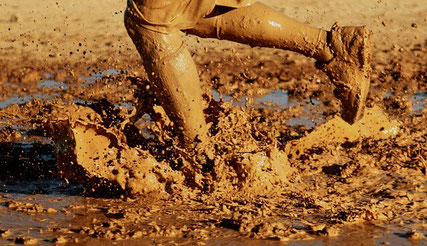 Running in mud.