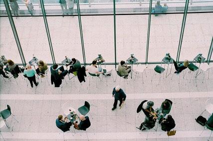 Meetings in cafe.