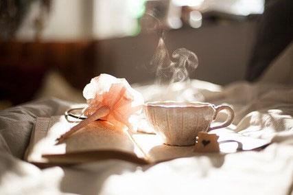 Relaxing over tea.