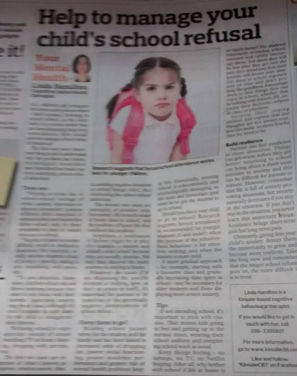 Kinsale CBT therapist Linda Hamilton's Southern Star column on school refusal behaviour.