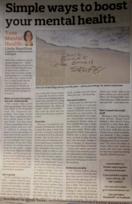 Kinsale CBT therapist Linda Hamilton's column on new year resolutions