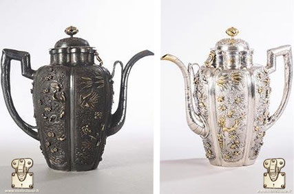 Restoration of a silver jug enhanced with gold (China, circa 1680-1685)