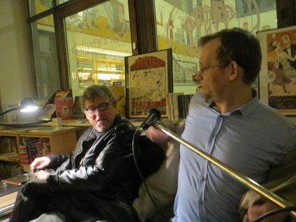 Ulrich Zieger und Clemens Meyer im März 2015 in der Connewitzer Verlagsbuchhandlung