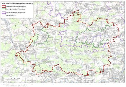 grün: alte Grenze mit Aussparung Zabertal und Teil Oberderdingen, rot: alt und neue Grenze. Karte vom Ref 55, RP Stuttgart
