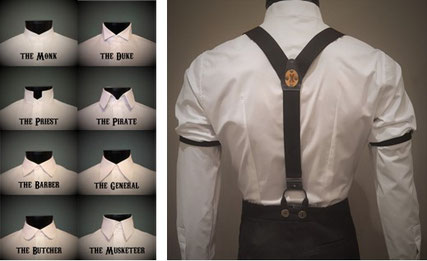 White classic dress shirts for men, 8 classic shirt collars and a back shot of a white tailored dress shirt on a mannequin with classic suspenders and sleeve garters