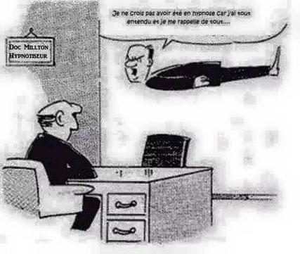 Vignette humoristique sur Docteur Milton Erickson_dans son cabinet_Le consultant en lévitation affirme que cela n'a pas fonctionné pour lui !