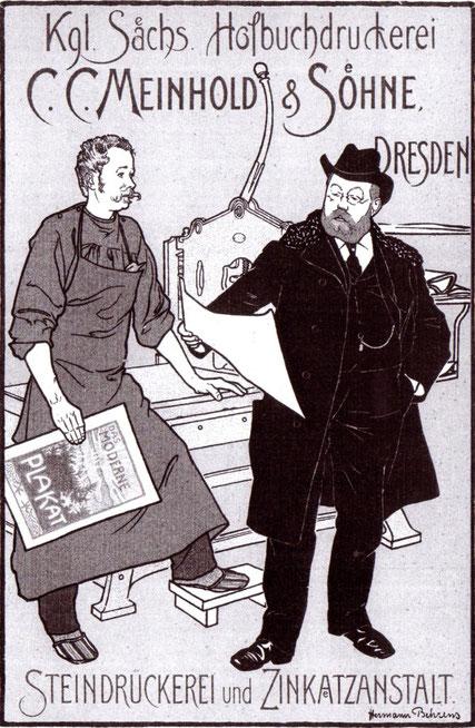 Steindruckerei. Einblick in die  Lithographie Druckerei.Plakat fuer die  Königlich sächsische Hofdruckerei, C. C. Meinhold & Söhne.