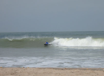 bodyboarding surf at Paradise Beach, Sanyang