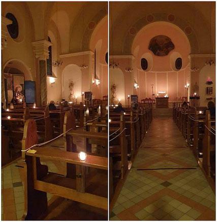 Bildmontage der für die Roratemesse am 02.12.2020 mit Kerzen beleuchteten Kirche