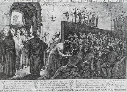 Platon's Höhlengleichnis, von Jan Saenredam (1604)  nach einem Gemälde von Cornelis Cornelisz. van Haarlem].