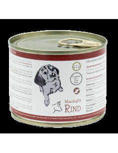 Vitale Hunde lieben unser glutenfreies MaxidogVit Rind: viel saftiges Rindfleisch, knackige Karotten, leckerer Reis und unsere einzigartige Algenmischung