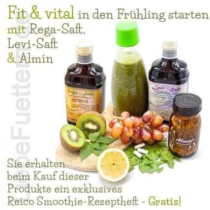 Starten Sie jetzt fit und vital in den Frühling mit Rega-Saft, Levi-Saft und Almin! Beim Kauf dieser Produkte erhalten Sie und Ihre Kundinnen und Kunden ab sofort ein exklusives Reico Smoothie-Rezeptheft gratis.