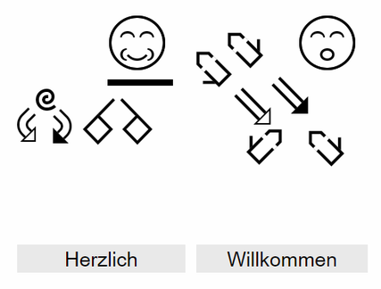 DIe Gebärdenschrift nach delegs, im delegs-Editor geschrieben.
