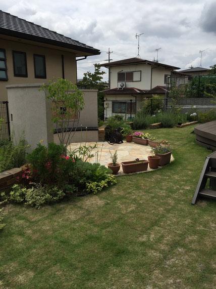 梅雨時期にはアジサイが美しく咲く様に3種類違う物を植えています