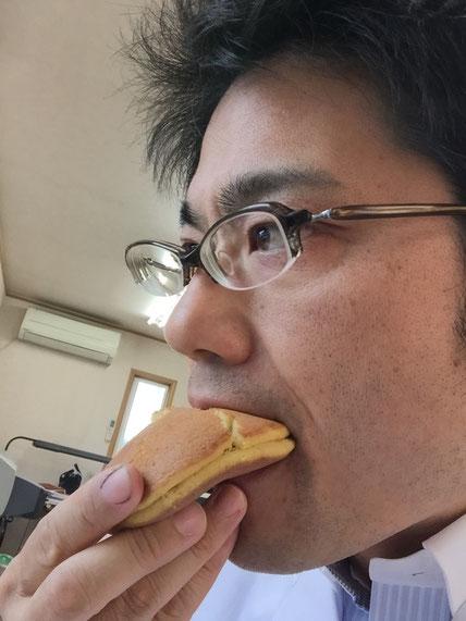 サボテンどら焼きを食べるガーデンドクター柴ちゃん。