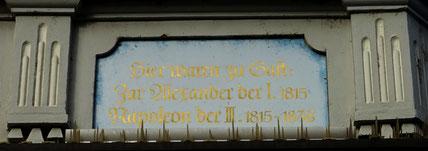 Inschrift am Hotel Adler