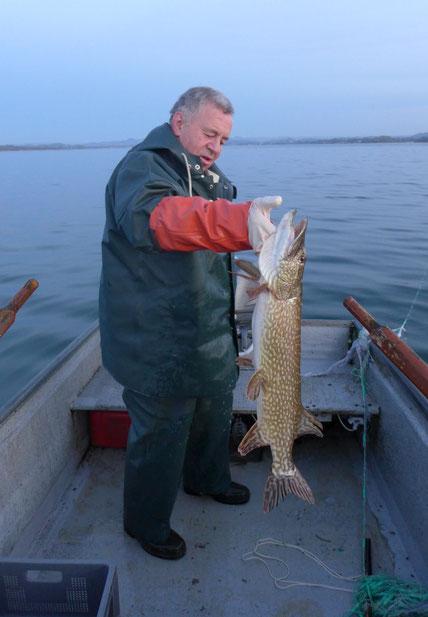 der Ermatinger Berufsfischer René Ribi