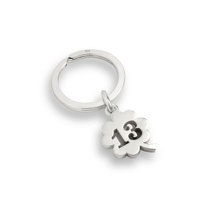 Silber Schlüsselanhänger Kleeblatt Dreizehn 13