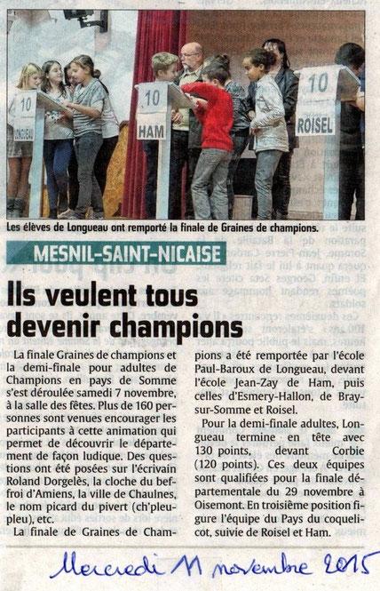 Demi finale à Mesnil Saint Nicaise - Article du Courrier Picard  - Novembre 2015