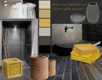 Planche d'ambiance salle de bain - Décor Zé Âme