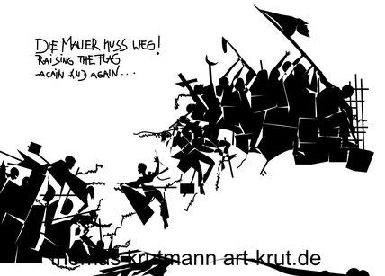 Die Mauer muß weg...Raising the Flag again and again, Thomas Krutmann, Ausstellung Kreishaus Goslar