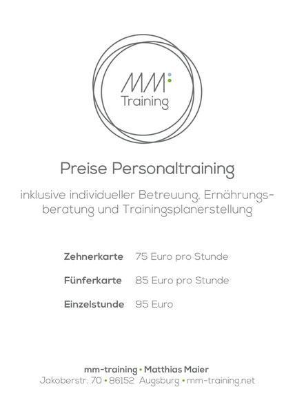 Preise Personal Training Augsburg