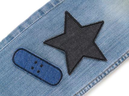 Bild: großer Stern Flicken zum aufbügeln, Jeansflicken schwarz
