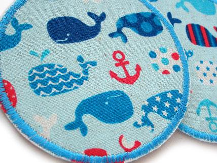 Bild: Walfisch Bügelbild, Bügelflicken für Kinder mit Walen