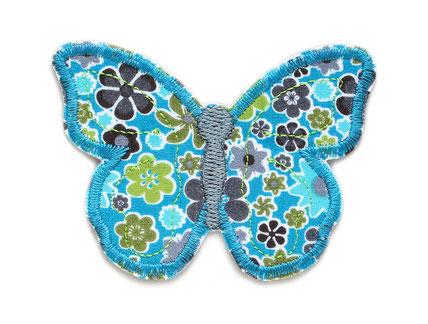 Bild: schmetterling patch zum aufbügeln in petrol, blütenmuster bügelflicken butterfly