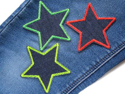 Bild: Stern Jeans Aufnäher neon Knieflicken Flicken zum aufbügeln im Set