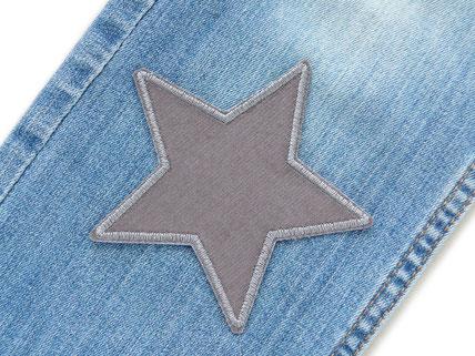 Bild: grauer Stern Flicken zum aufbügeln aus grauem Baumwollcord, Hosenflicken Bügelflicken nachhaltig reparieren