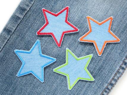 Bild: Stern Jeansflicken zum aufbügeln mini im Sparset zum Sparpreis, kleine Stern Bügelflicken hellblau