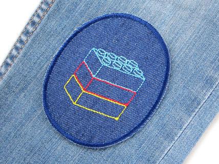 Bild: Knieflicken Flicken Hosenflicken Legostein Jeansflicken zum aufbügeln
